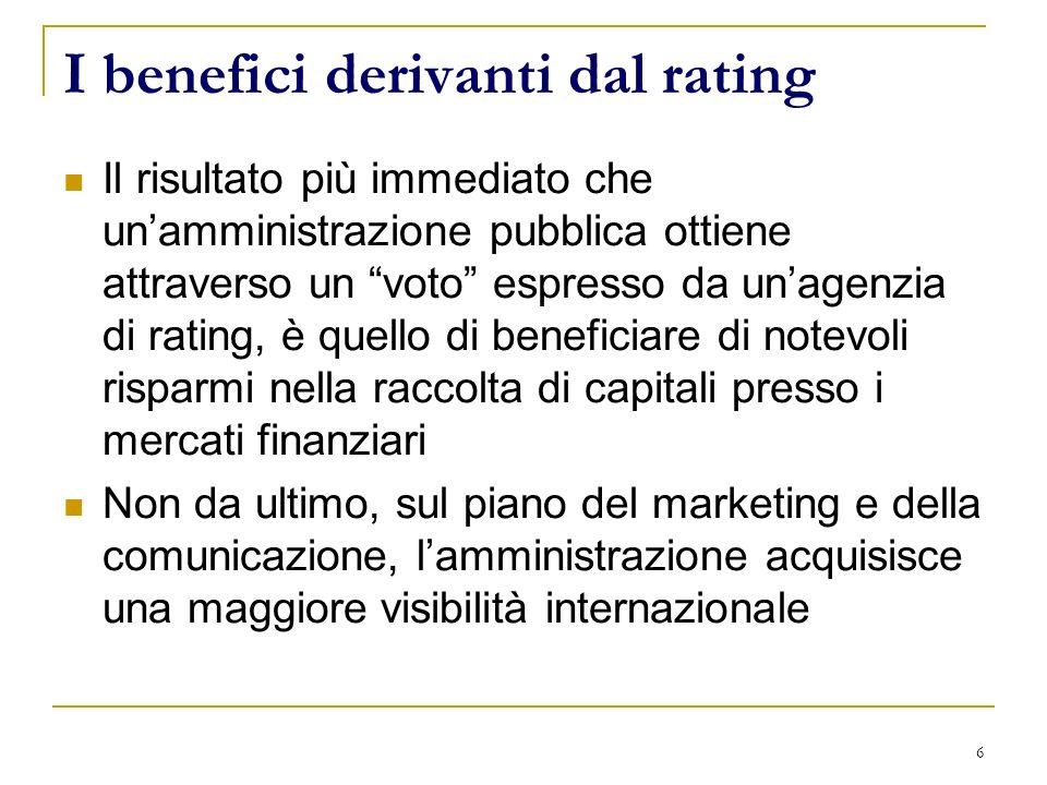 6 I benefici derivanti dal rating Il risultato più immediato che unamministrazione pubblica ottiene attraverso un voto espresso da unagenzia di rating, è quello di beneficiare di notevoli risparmi nella raccolta di capitali presso i mercati finanziari Non da ultimo, sul piano del marketing e della comunicazione, lamministrazione acquisisce una maggiore visibilità internazionale