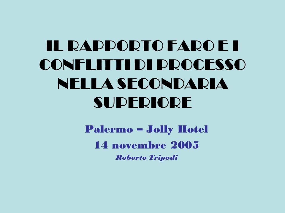 IL RAPPORTO FARO E I CONFLITTI DI PROCESSO NELLA SECONDARIA SUPERIORE Palermo – Jolly Hotel 14 novembre 2005 Roberto Tripodi