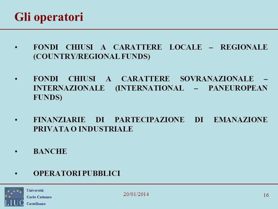 Università Carlo Cattaneo Castellanza 20/01/2014 16 Gli operatori FONDI CHIUSI A CARATTERE LOCALE – REGIONALE (COUNTRY/REGIONAL FUNDS) FONDI CHIUSI A
