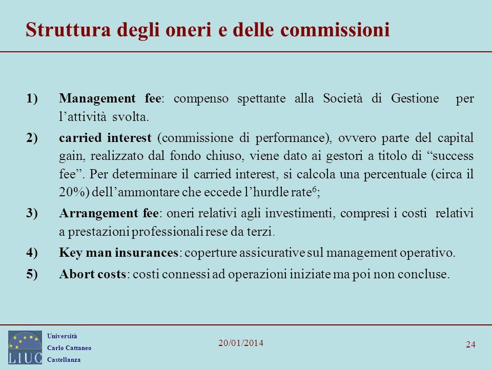 Università Carlo Cattaneo Castellanza 20/01/2014 24 Struttura degli oneri e delle commissioni 1)Management fee: compenso spettante alla Società di Ges