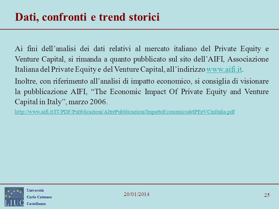 Università Carlo Cattaneo Castellanza 20/01/2014 25 Dati, confronti e trend storici Ai fini dellanalisi dei dati relativi al mercato italiano del Priv