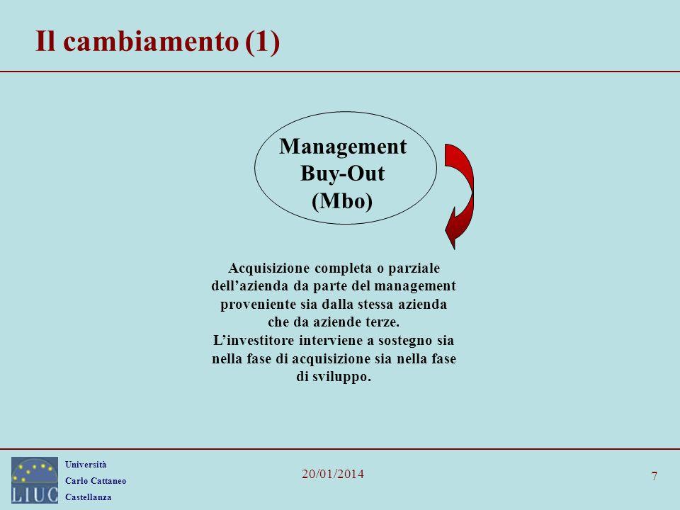 Università Carlo Cattaneo Castellanza 20/01/2014 7 Il cambiamento (1) Management Buy-Out (Mbo) Acquisizione completa o parziale dellazienda da parte d