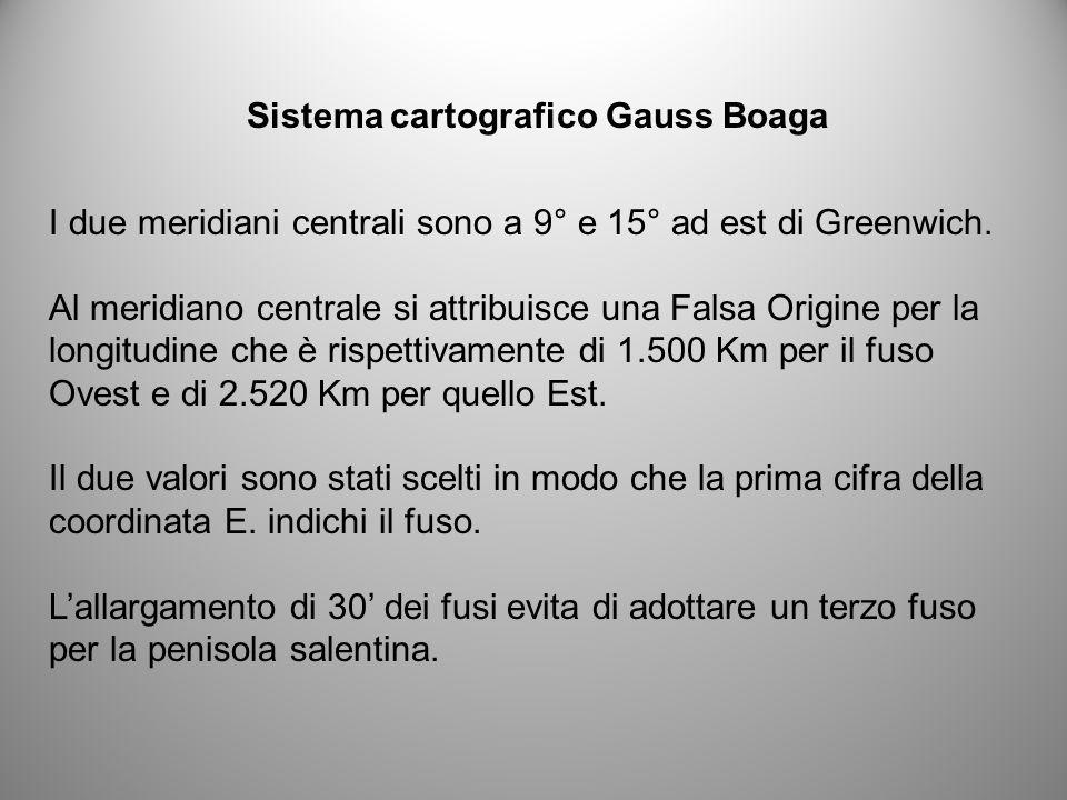 Sistema cartografico Gauss Boaga I due meridiani centrali sono a 9° e 15° ad est di Greenwich. Al meridiano centrale si attribuisce una Falsa Origine