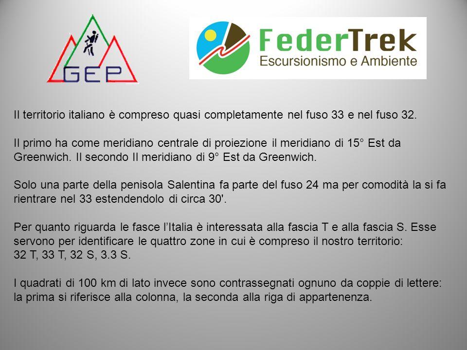 Il territorio italiano è compreso quasi completamente nel fuso 33 e nel fuso 32. Il primo ha come meridiano centrale di proiezione il meridiano di 15°
