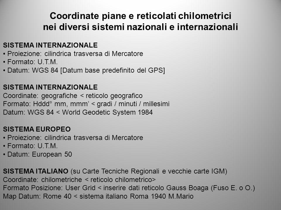 Coordinate piane e reticolati chilometrici nei diversi sistemi nazionali e internazionali SISTEMA INTERNAZIONALE Proiezione: cilindrica trasversa di M