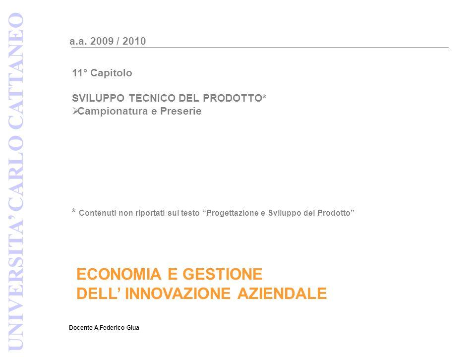 ECONOMIA E GESTIONE DELL INNOVAZIONE AZIENDALE Docente A.Federico Giua a.a. 2009 / 2010 UNIVERSITA CARLO CATTANEO 11° Capitolo SVILUPPO TECNICO DEL PR