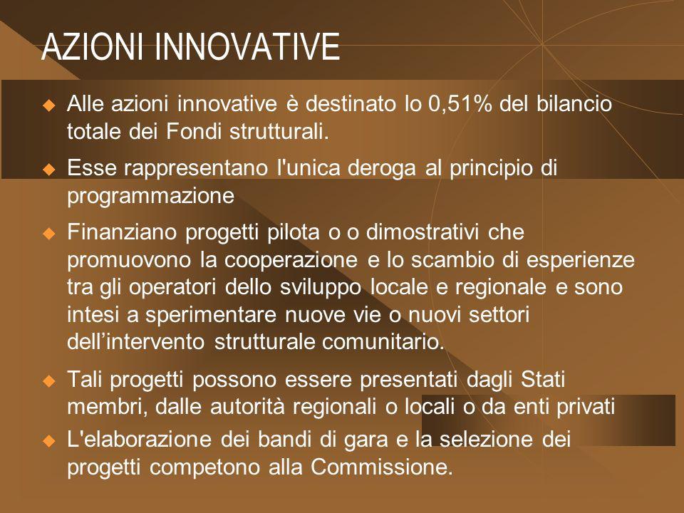 AZIONI INNOVATIVE Alle azioni innovative è destinato lo 0,51% del bilancio totale dei Fondi strutturali.