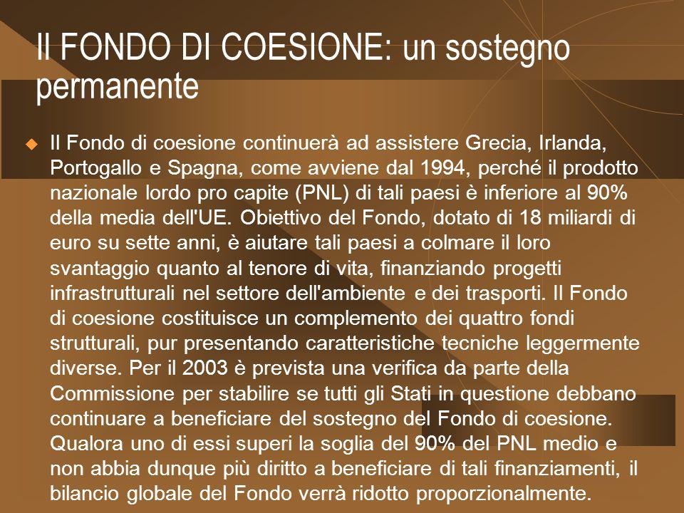 Il FONDO DI COESIONE: un sostegno permanente Il Fondo di coesione continuerà ad assistere Grecia, Irlanda, Portogallo e Spagna, come avviene dal 1994, perché il prodotto nazionale lordo pro capite (PNL) di tali paesi è inferiore al 90% della media dell UE.