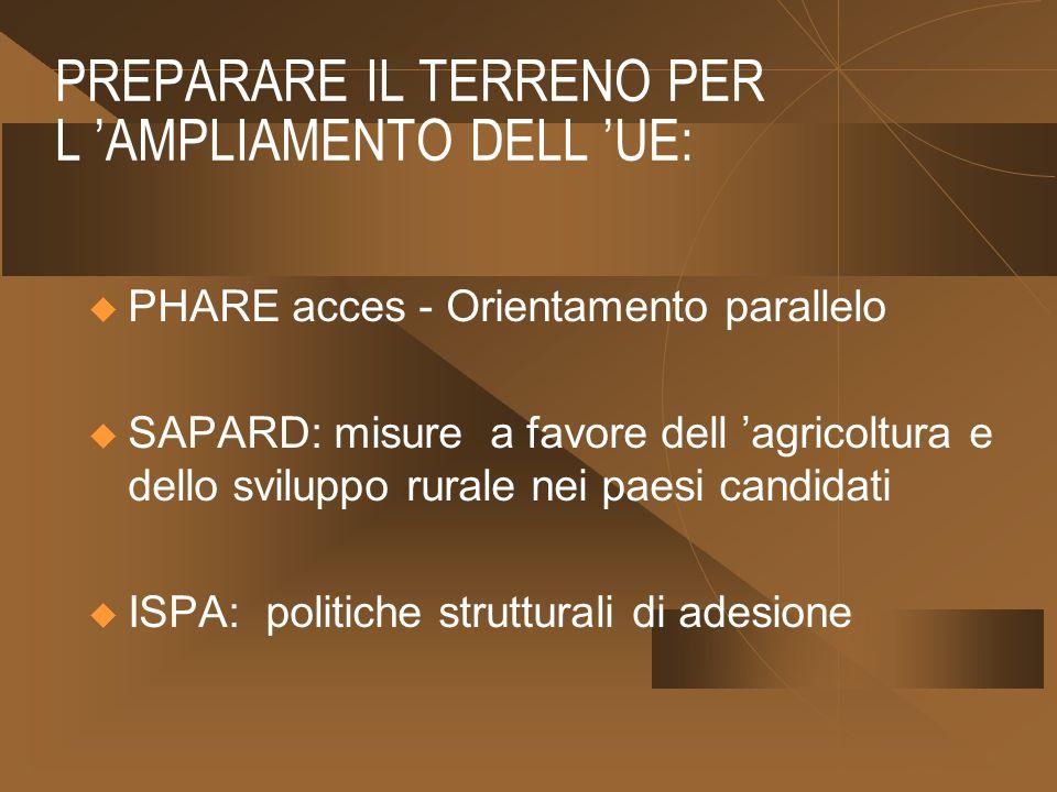 PREPARARE IL TERRENO PER L AMPLIAMENTO DELL UE: PHARE acces - Orientamento parallelo SAPARD: misure a favore dell agricoltura e dello sviluppo rurale nei paesi candidati ISPA: politiche strutturali di adesione