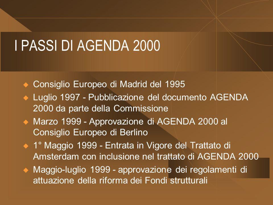 I PASSI DI AGENDA 2000 Consiglio Europeo di Madrid del 1995 Luglio 1997 - Pubblicazione del documento AGENDA 2000 da parte della Commissione Marzo 1999 - Approvazione di AGENDA 2000 al Consiglio Europeo di Berlino 1° Maggio 1999 - Entrata in Vigore del Trattato di Amsterdam con inclusione nel trattato di AGENDA 2000 Maggio-luglio 1999 - approvazione dei regolamenti di attuazione della riforma dei Fondi strutturali