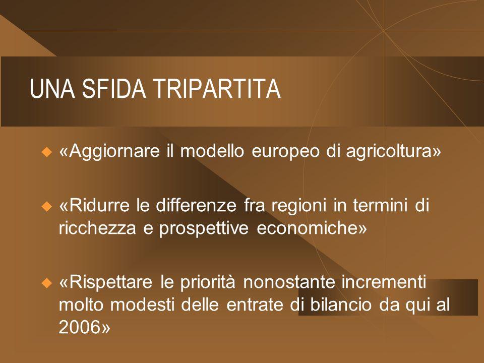 UNA SFIDA TRIPARTITA «Aggiornare il modello europeo di agricoltura» «Ridurre le differenze fra regioni in termini di ricchezza e prospettive economiche» «Rispettare le priorità nonostante incrementi molto modesti delle entrate di bilancio da qui al 2006»