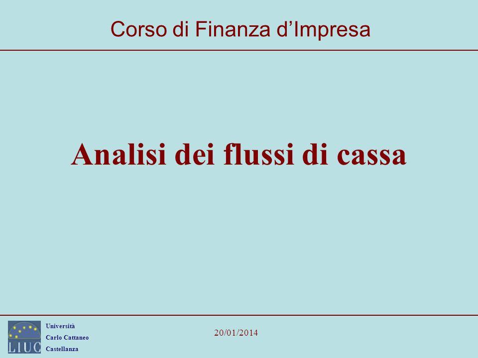 Università Carlo Cattaneo Castellanza 20/01/2014 Analisi dei flussi di cassa Corso di Finanza dImpresa