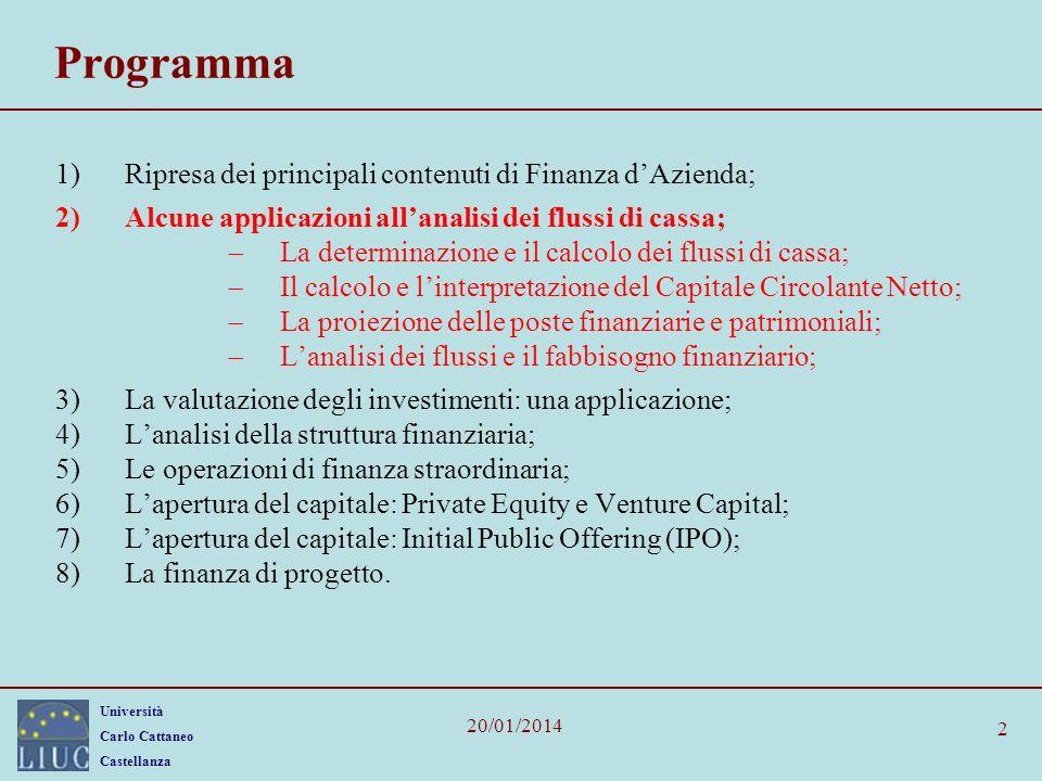 Università Carlo Cattaneo Castellanza 20/01/2014 3 Dalla logica contabile alla logica finanziaria In una società, il piano dei conti può essere redatto secondo diverse logiche: civilistica; fiscale; finanziaria.
