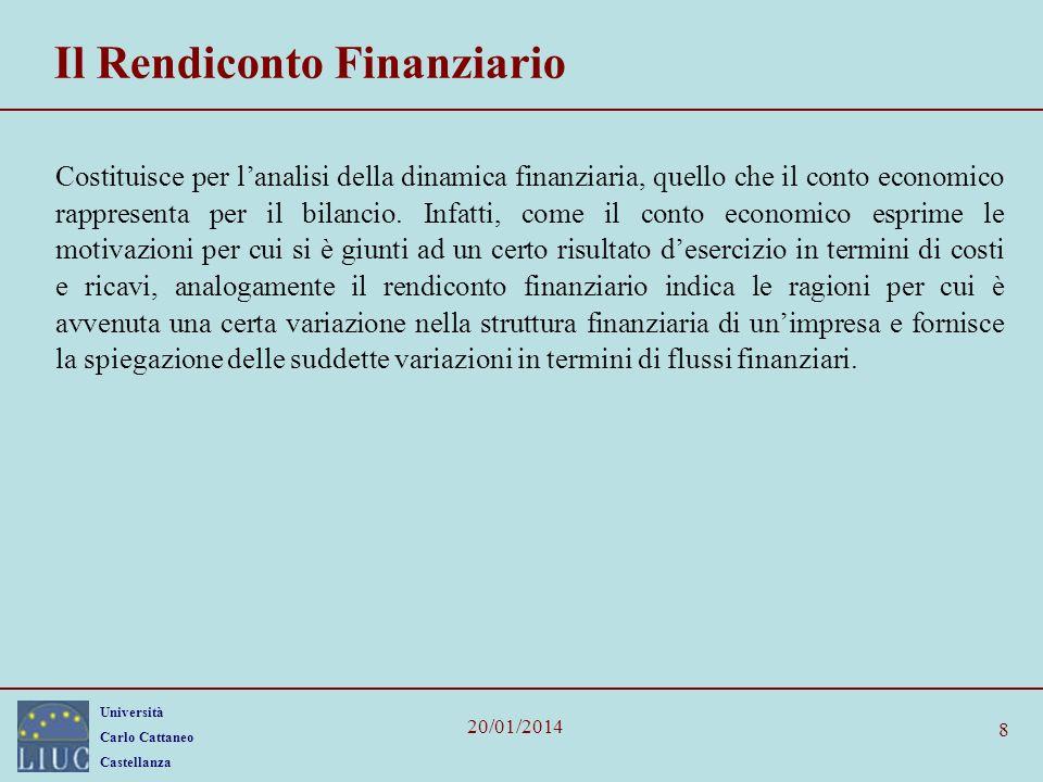 Università Carlo Cattaneo Castellanza 20/01/2014 8 Il Rendiconto Finanziario Costituisce per lanalisi della dinamica finanziaria, quello che il conto
