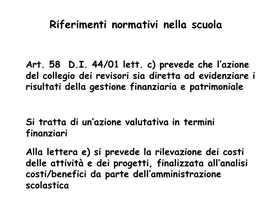 Riferimenti normativi nella scuola Art. 58 D.I. 44/01 lett. c) prevede che lazione del collegio dei revisori sia diretta ad evidenziare i risultati de
