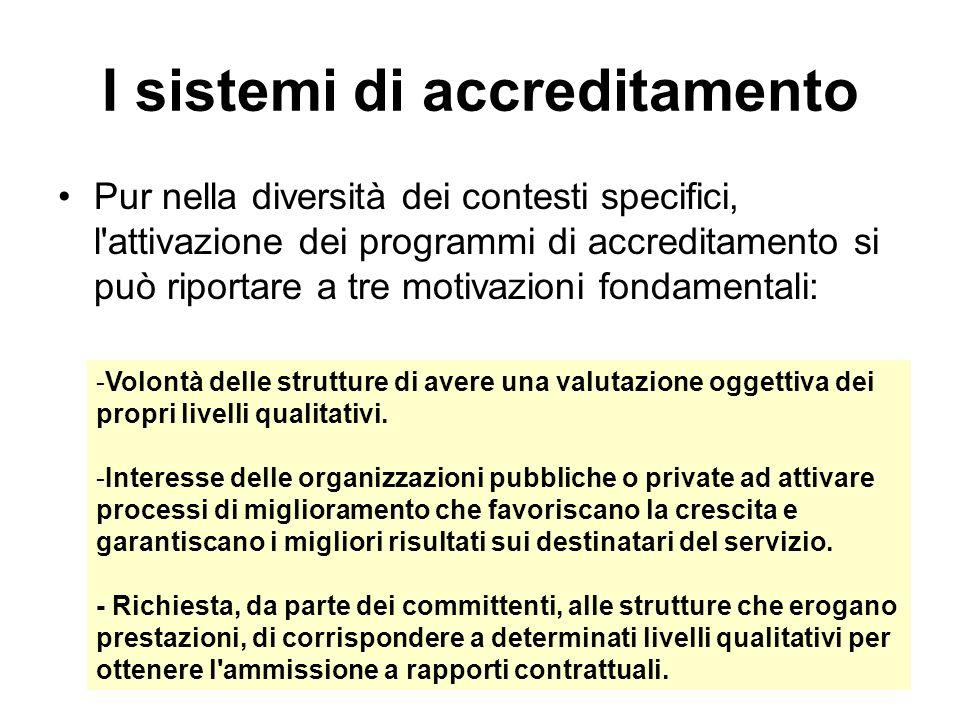 I sistemi di accreditamento Pur nella diversità dei contesti specifici, l'attivazione dei programmi di accreditamento si può riportare a tre motivazio