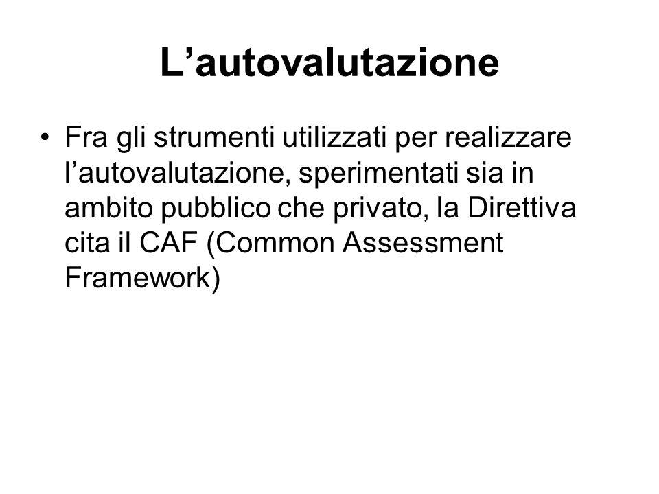 Fra gli strumenti utilizzati per realizzare lautovalutazione, sperimentati sia in ambito pubblico che privato, la Direttiva cita il CAF (Common Assess