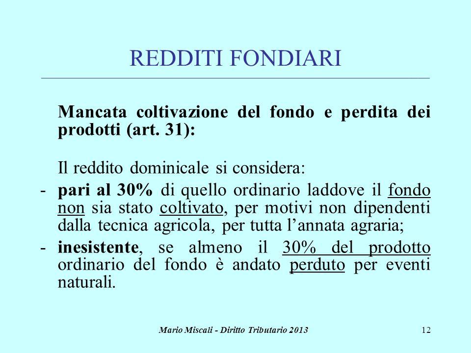 Mario Miscali - Diritto Tributario 201312 REDDITI FONDIARI ___________________________________________________________________________________________