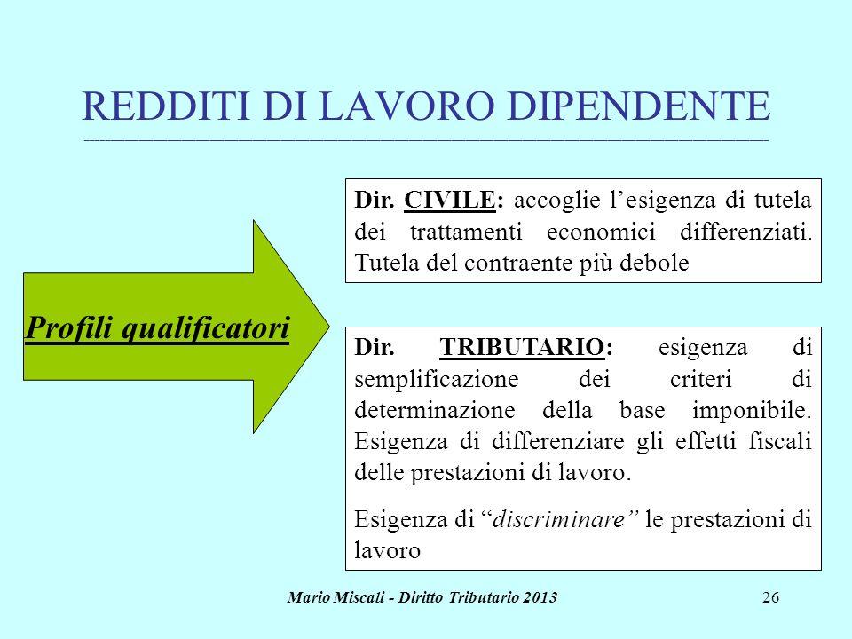 Mario Miscali - Diritto Tributario 201326 REDDITI DI LAVORO DIPENDENTE _______________________________________________________________________________