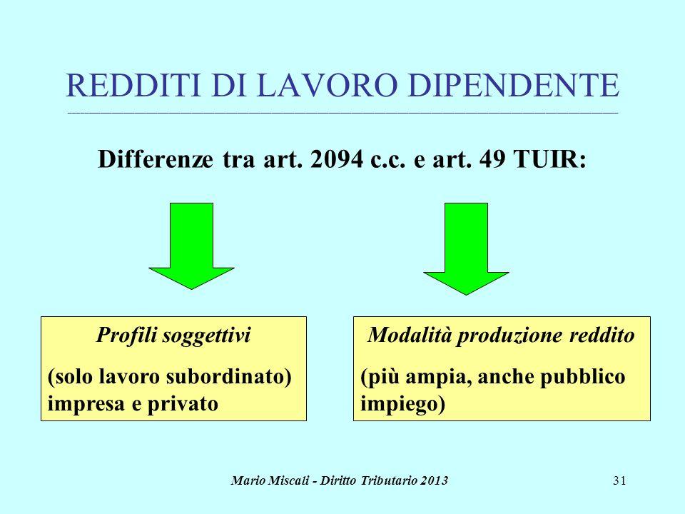 Mario Miscali - Diritto Tributario 201331 REDDITI DI LAVORO DIPENDENTE _______________________________________________________________________________