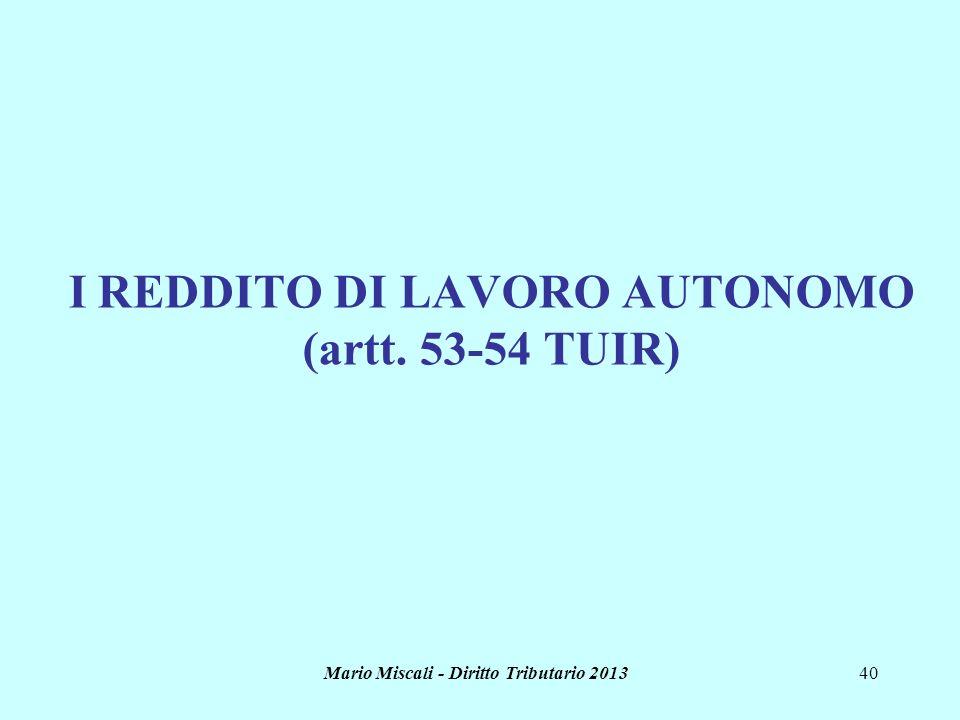 Mario Miscali - Diritto Tributario 201340 I REDDITO DI LAVORO AUTONOMO (artt. 53-54 TUIR)