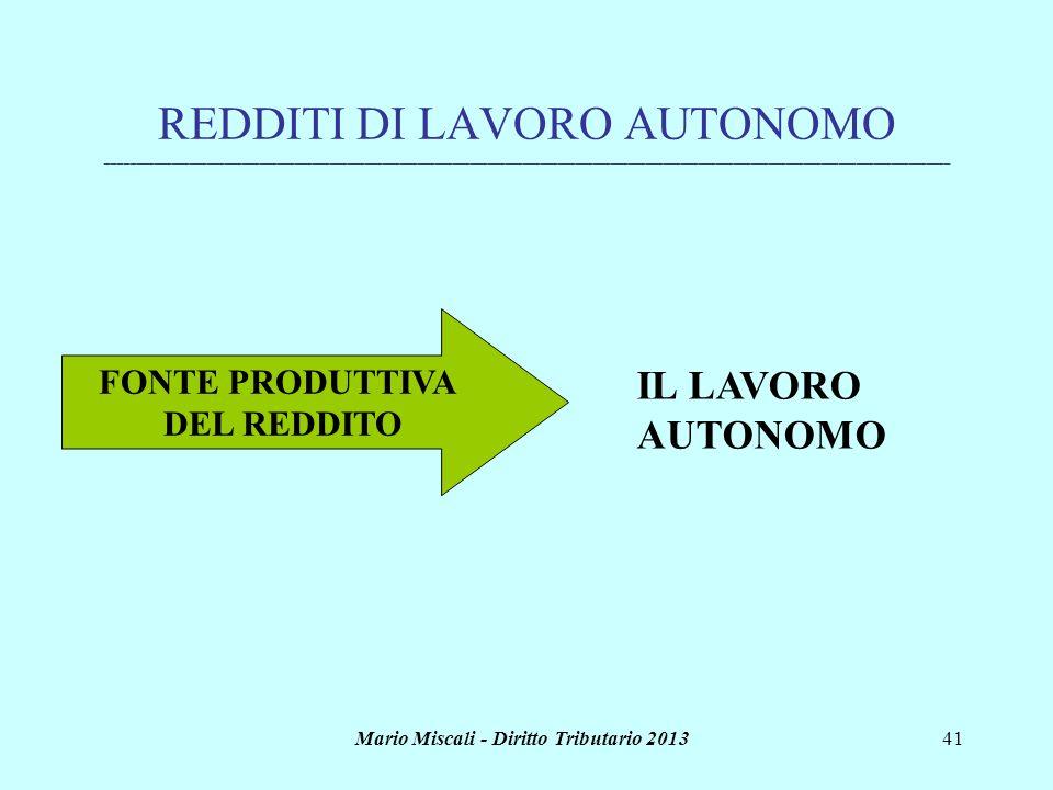 Mario Miscali - Diritto Tributario 201341 REDDITI DI LAVORO AUTONOMO _________________________________________________________________________________