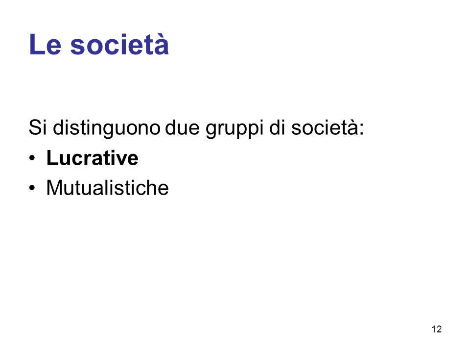 Le società Si distinguono due gruppi di società: Lucrative Mutualistiche 12