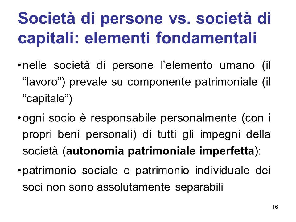 Società di persone vs. società di capitali: elementi fondamentali nelle società di persone lelemento umano (il lavoro) prevale su componente patrimoni