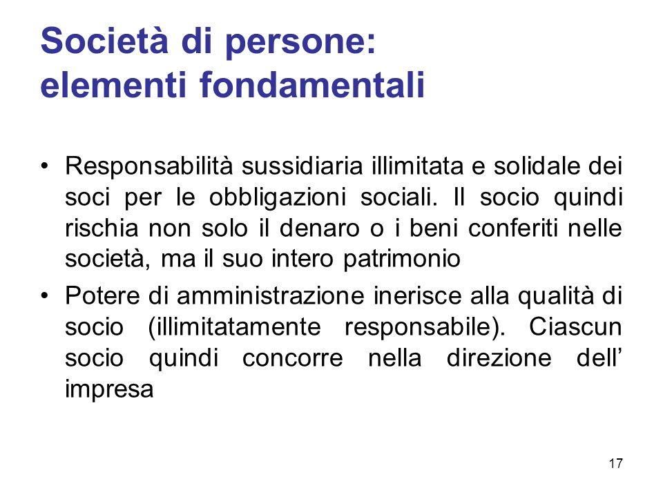 Società di persone: elementi fondamentali Responsabilità sussidiaria illimitata e solidale dei soci per le obbligazioni sociali. Il socio quindi risch