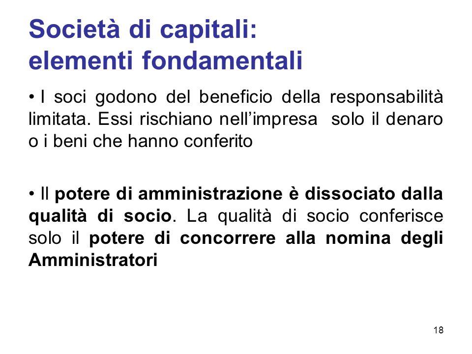 Società di capitali: elementi fondamentali I soci godono del beneficio della responsabilità limitata. Essi rischiano nellimpresa solo il denaro o i be