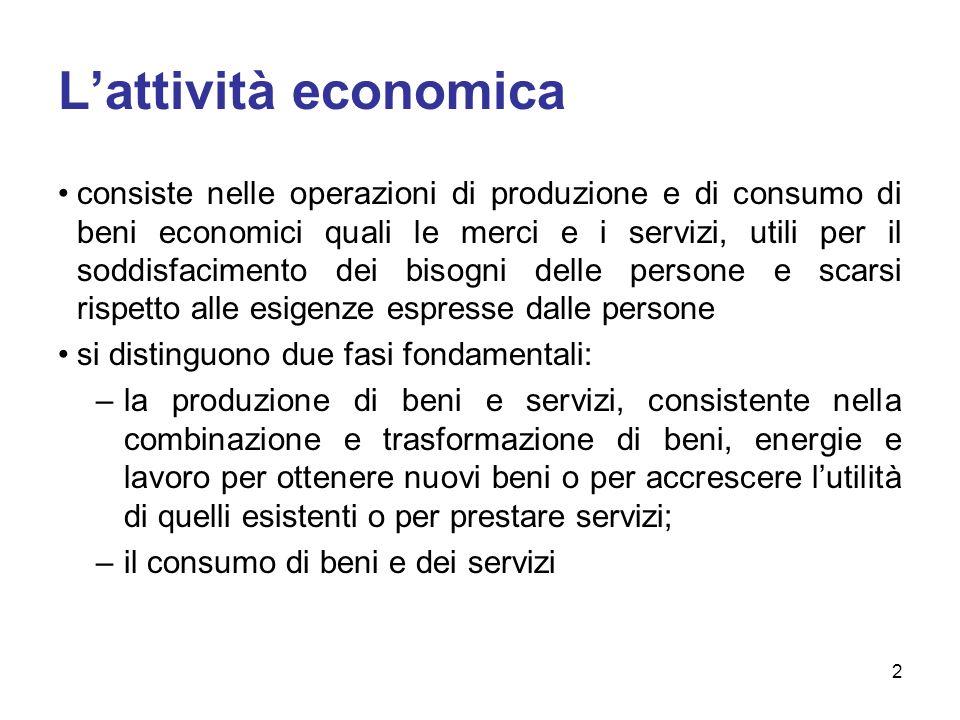 Lattività economica consiste nelle operazioni di produzione e di consumo di beni economici quali le merci e i servizi, utili per il soddisfacimento de