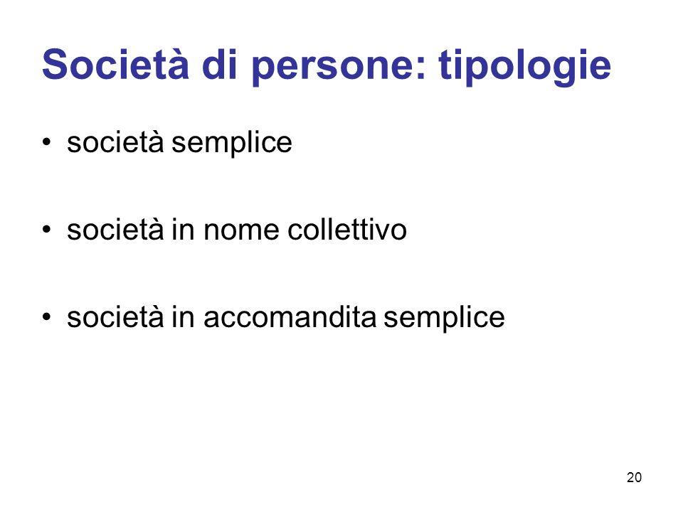 Società di persone: tipologie società semplice società in nome collettivo società in accomandita semplice 20