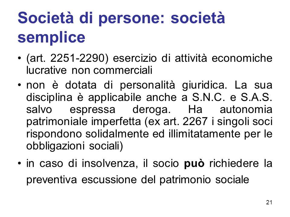 Società di persone: società semplice (art. 2251-2290) esercizio di attività economiche lucrative non commerciali non è dotata di personalità giuridica