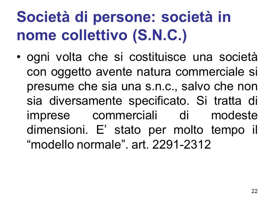Società di persone: società in nome collettivo (S.N.C.) ogni volta che si costituisce una società con oggetto avente natura commerciale si presume che