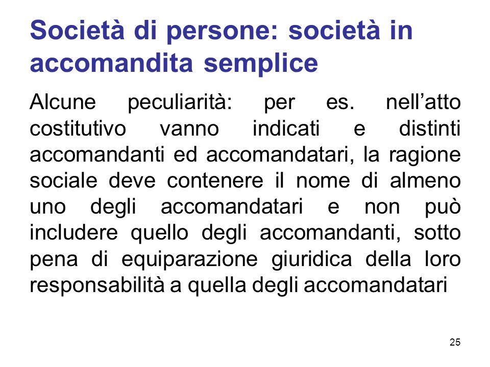Società di persone: società in accomandita semplice Alcune peculiarità: per es. nellatto costitutivo vanno indicati e distinti accomandanti ed accoman