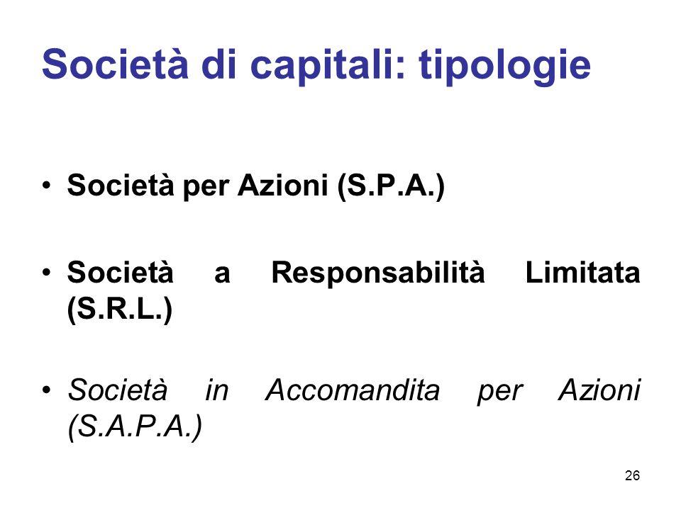 Società di capitali: tipologie Società per Azioni (S.P.A.) Società a Responsabilità Limitata (S.R.L.) Società in Accomandita per Azioni (S.A.P.A.) 26