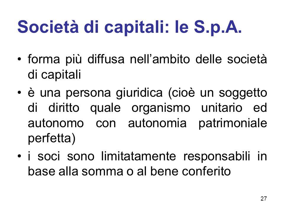 Società di capitali: le S.p.A. forma più diffusa nellambito delle società di capitali è una persona giuridica (cioè un soggetto di diritto quale organ