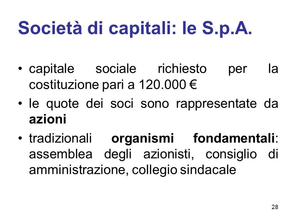 Società di capitali: le S.p.A. capitale sociale richiesto per la costituzione pari a 120.000 le quote dei soci sono rappresentate da azioni tradiziona