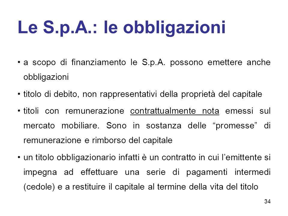 Le S.p.A.: le obbligazioni a scopo di finanziamento le S.p.A. possono emettere anche obbligazioni titolo di debito, non rappresentativi della propriet