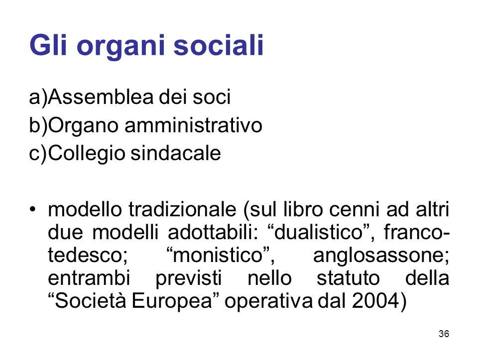 Gli organi sociali a)Assemblea dei soci b)Organo amministrativo c)Collegio sindacale modello tradizionale (sul libro cenni ad altri due modelli adotta