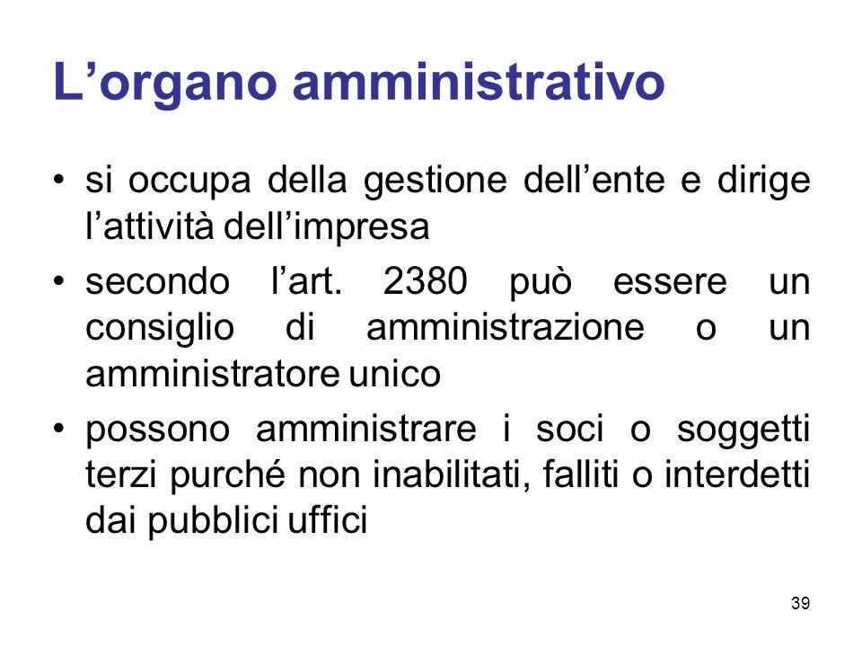 Lorgano amministrativo si occupa della gestione dellente e dirige lattività dellimpresa secondo lart. 2380 può essere un consiglio di amministrazione