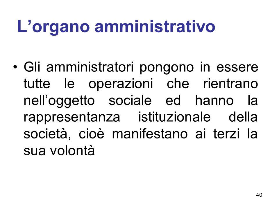 Lorgano amministrativo Gli amministratori pongono in essere tutte le operazioni che rientrano nelloggetto sociale ed hanno la rappresentanza istituzio