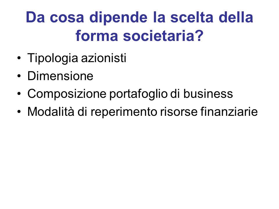 Da cosa dipende la scelta della forma societaria? Tipologia azionisti Dimensione Composizione portafoglio di business Modalità di reperimento risorse