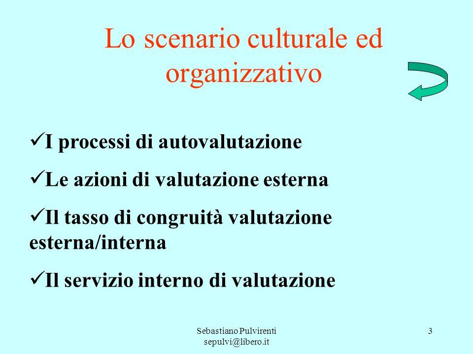 Sebastiano Pulvirenti sepulvi@libero.it 3 Lo scenario culturale ed organizzativo I processi di autovalutazione Le azioni di valutazione esterna Il tasso di congruità valutazione esterna/interna Il servizio interno di valutazione