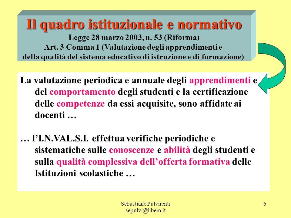 Sebastiano Pulvirenti sepulvi@libero.it 6 Il quadro istituzionale e normativo Legge 28 marzo 2003, n.
