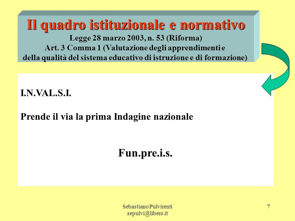 Sebastiano Pulvirenti sepulvi@libero.it 7 Il quadro istituzionale e normativo Legge 28 marzo 2003, n.