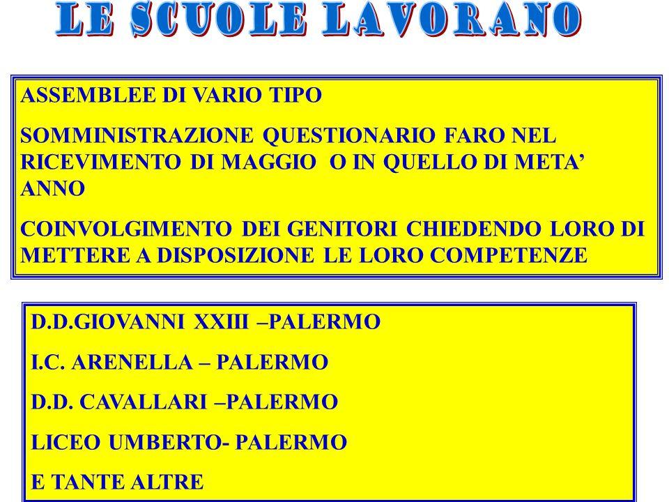 ASSEMBLEE DI VARIO TIPO SOMMINISTRAZIONE QUESTIONARIO FARO NEL RICEVIMENTO DI MAGGIO O IN QUELLO DI META ANNO COINVOLGIMENTO DEI GENITORI CHIEDENDO LORO DI METTERE A DISPOSIZIONE LE LORO COMPETENZE D.D.GIOVANNI XXIII –PALERMO I.C.
