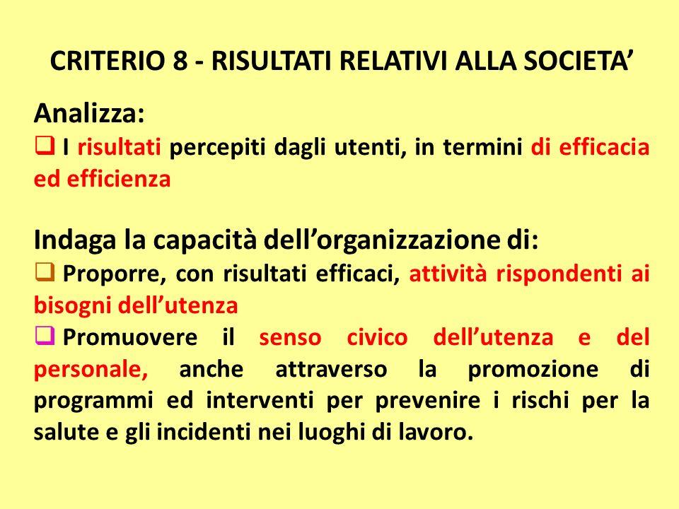 CRITERIO 8 - RISULTATI RELATIVI ALLA SOCIETA Analizza: I risultati percepiti dagli utenti, in termini di efficacia ed efficienza Indaga la capacità de