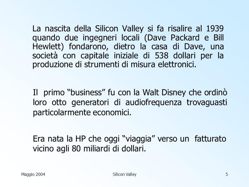 Maggio 2004Silicon Valley5 La nascita della Silicon Valley si fa risalire al 1939 quando due ingegneri locali (Dave Packard e Bill Hewlett) fondarono, dietro la casa di Dave, una società con capitale iniziale di 538 dollari per la produzione di strumenti di misura elettronici.