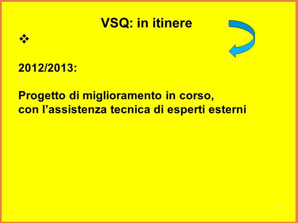 VSQ: in itinere 2012/2013: Progetto di miglioramento in corso, con lassistenza tecnica di esperti esterni 7